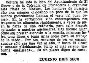 Texto original de la primera fiesta del marisco (1963)