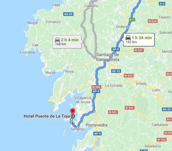 ubicacion hotel puente de la toja